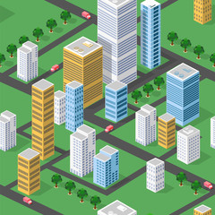 Seamless Isometric city with houses, streets and roads, repeating pattern