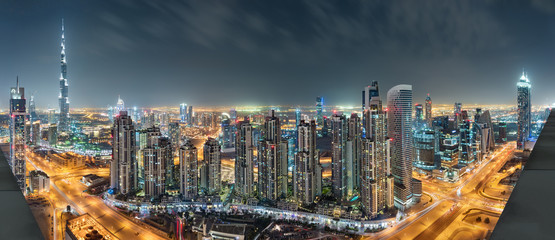 Dubai Downtown Night Panorama
