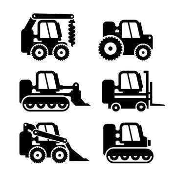 Bobcat Machine Icons Set. Vector