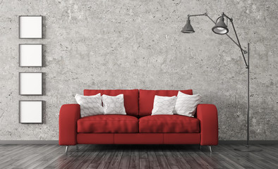Interior with red sofa against of concrete wall 3d render