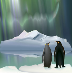 Penguins/Penguins - travelers on the background of the iceberg and the Aurora.