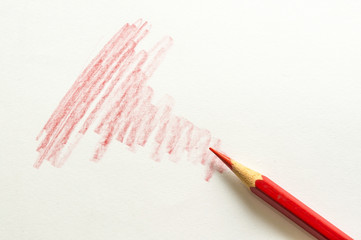 Red color pencil and red bar