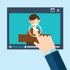 Vector webinar concept in flat style - video player - online education