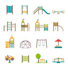 Printed kitchen splashbacks Cartoon cars Playground Flat Icons Set