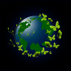 Green butterflies on the environmentally friendly planet.