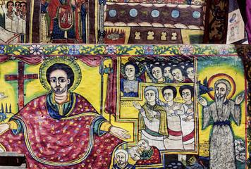 Foto op Aluminium Imagination ancient orthodox church interior painted walls in gondar ethiopi