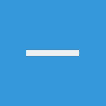 Minus icon, on blue background, white outline, large size symbol