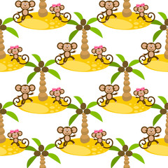 Monkey on island kid seamless vector pattern for textile print. Green happy cartoon jungle ape couple with coconut palm trees. Baby fabric pattern.