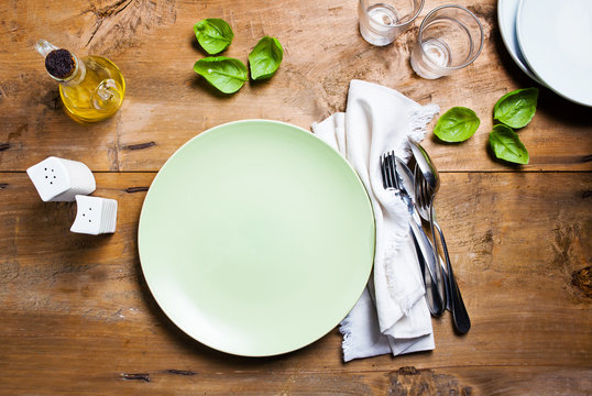 empty plate on table