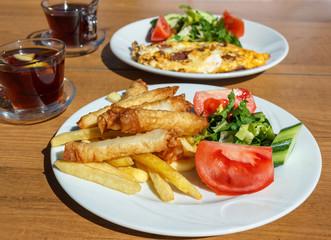 Traditional Turkish breakfast with borek