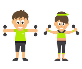 sport man and woman with dumbbells
