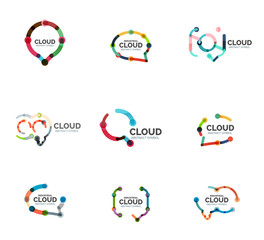 Set of flat linear design speech cloud logos. Talk bubbles, modern geometric industrial thin line icons