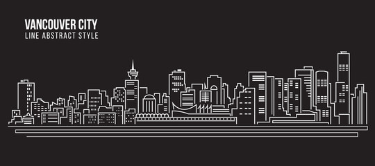 Cityscape Building Line art Vector Illustration design - Vancouver city Wall mural