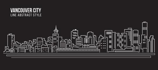 Cityscape Building Line art Vector Illustration design - Vancouver city Fototapete