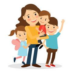 Mother with kids. Happy family together. Parenting and child care vector illustration