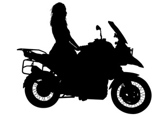 Wall Mural - Silhouettes of motorcycl and baeuty women on white background