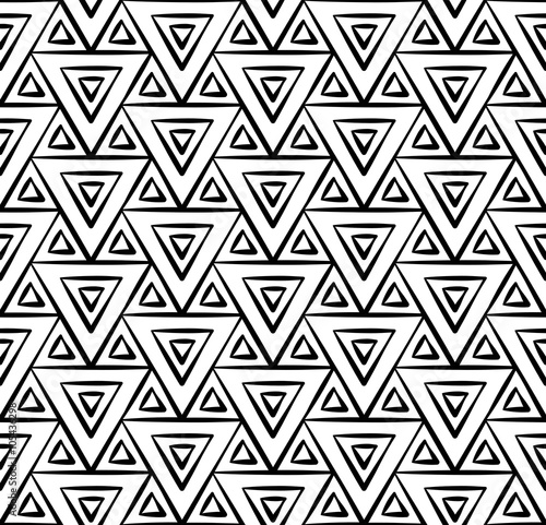 """Vector modern seamless geometry pattern triangles, black ..."