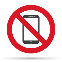 ban phone, no mobile cell phone, warning sign ban phone, icon ban mobile phone  EPS10, vector illustration