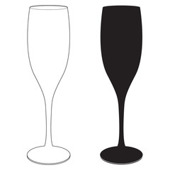 A glass of wine and champagne. Black and white icon.