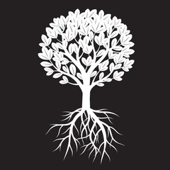 White Tree, Leafs and Roots. Vector Illustration.