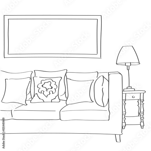 Hand drawn sketch of modern living room interior with a for Comedor para dibujar