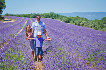 Family in a lavender field