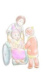 車椅子のおばあちゃんに花をあげる子ども