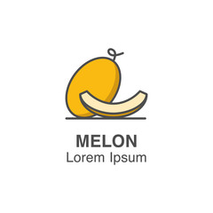 Melon and melon slice vector icon. Tropical fruits illustration