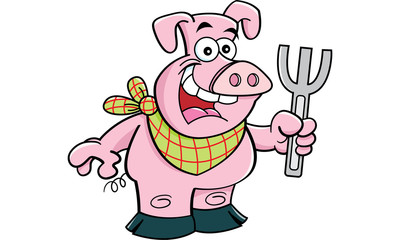 Cartoon illustration of a pig holding a fork.