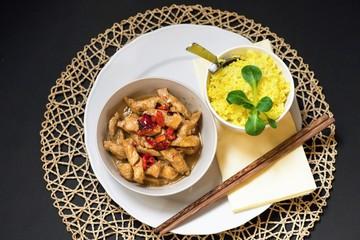 Fried turkey and turmeric rice