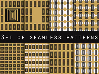 Set of seamless patterns. Geometric pattern, gold and black. The pattern for wallpaper, tiles, fabrics and designs. Vector illustration.