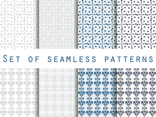 Seamless pattern with splashes and dots. Set. The pattern for wallpaper, tiles, fabrics, backgrounds. Vector illustration