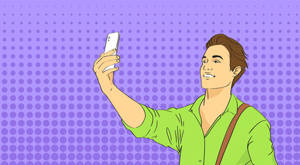 Man Taking Selfie Photo On Smart Phone Pop Art Colorful Retro Style