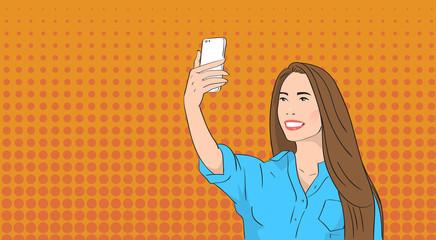 Asian Woman Taking Selfie Photo On Smart Phone Pop Art Colorful Retro Style