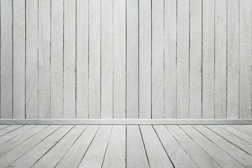 Empty interior wood room white wooden wall and floor, For displa