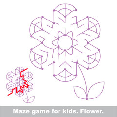 Search the way. Flower kid maze game.