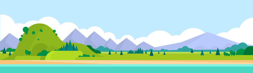 Mountain Range Summer Landscape Horizontal