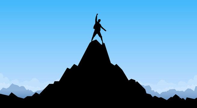 Traveler Man Silhouette Stand Top Mountain Rock Peak Climber