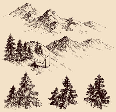 Nature design elements, mountains and pine trees sketch