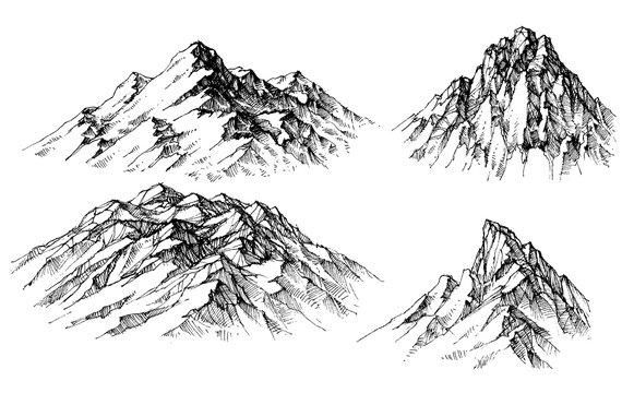 Mountain set. Isolated mountain peaks vector
