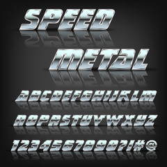 Metal alphabet and symbols with reflection and shadow. Font for design. Vector eps10.