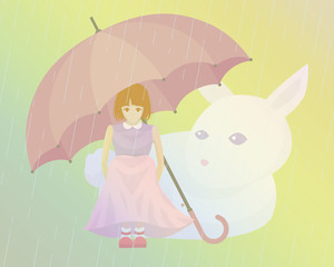 The girl, an umbrella, a rabbit