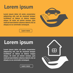 Insurance horizontal banner with property and car vector illustration