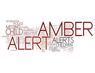 Amber Alert word concepts isolated on white background