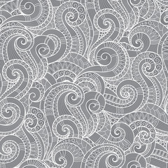 Seamless asian ethnic floral retro doodle background pattern