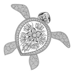Pattern for coloring book.  Decorative graphic turtle.