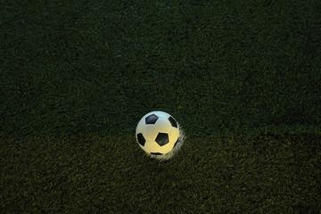 Closeup of football on fake grass