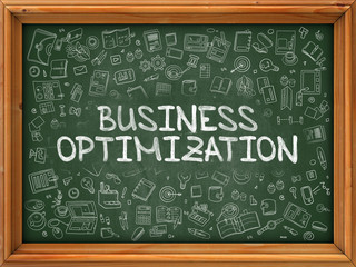 Business Optimization - Hand Drawn on Green Chalkboard with Doodle Icons Around. Modern Illustration with Doodle Design Style.