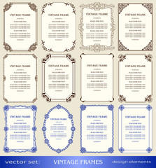 Vintage frames and borders set, book covers and pages