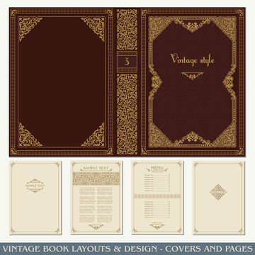 Vintage book layouts and design, covers and pages